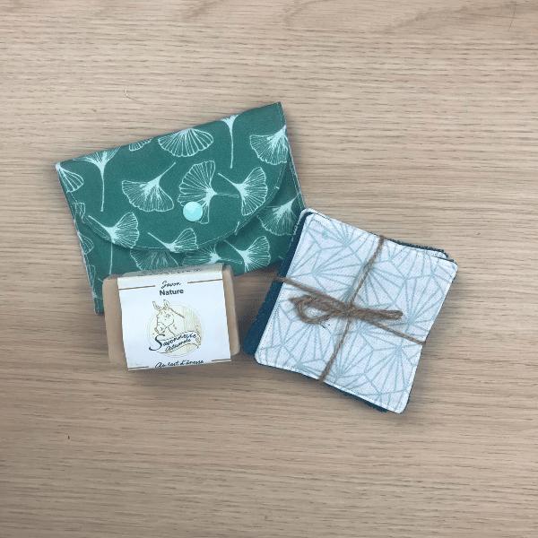 coffret cadeau fête des mères lingettes lavables pochette savon et savon